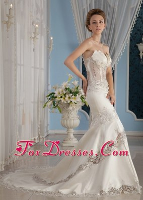 2013 Sexy Mermaid Beading Wedding Dress Court Lace Satin