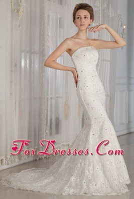 Luxurious Wedding Dress 2013 Trumpe Court Lace Beading