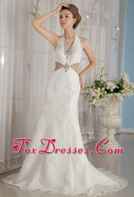 Exclusive 2013 Wedding Dress Trumpet Halter Watteau Rhinestone