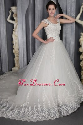 Elegant Wedding Dress For 2013 Square Chapel Straps