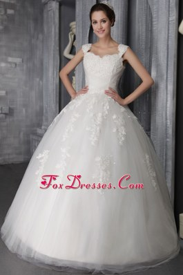 Ball Gown Straps Lace Appliques Elegant Wedding Dress in 2013