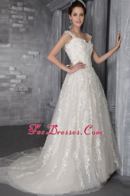 Perfect A-Line Straps Court Appliques 2013 Wedding Dress Tulle