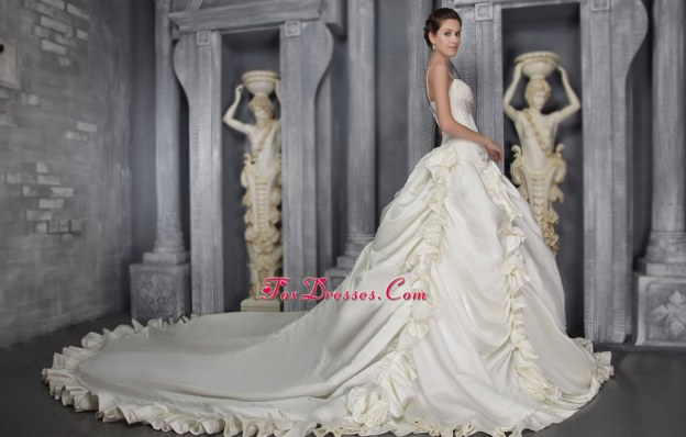 A-Line Taffeta Beading Wedding Dress 2013 Strap cathedral