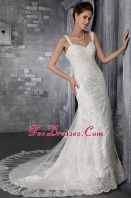 Wedding Dress 2013 Trumpet Strap Lace Appliques Wedding Dress