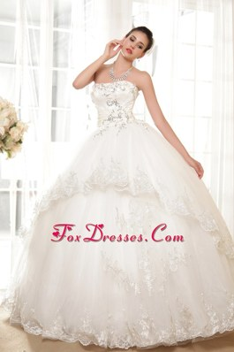 2013 Luxurious Ball Gown Wedding Dress Tulle Appliques