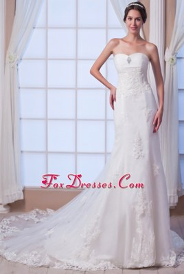2013 Brand New Wedding Dress Mermaid Strapless Beading Lace