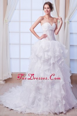 Sweetheart Beading 2013 A-line Wedding Dress Court Organza
