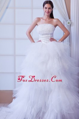 Bridal Dress 2013 Romantic A-line Brush Tulle Beading