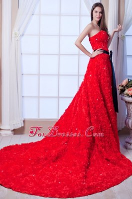 Red Wedding Dress 2013 Rolling Flowers Cathedral Beading Sash