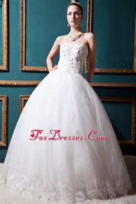 Luxurious Beading Wedding Dress 2013 Strapless Tulle