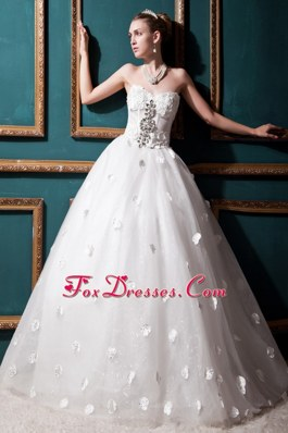Wedding Dress Sweetheart Tulle Beading and Appliques 2013