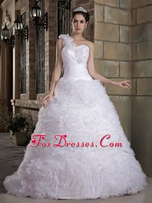 Hand Made Wedding Dress 2013 One Shoulder Taffeta Tulle