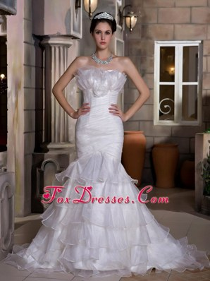 2013 Exquisite Wedding Dress Mermaid Strapless Ruch Ruffles