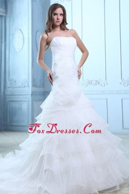 Mermaid Court Organza Ruch and Hand Made Wedding Dress 2013