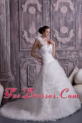 2013 Customize Wedding Dress A-line One Shoulder Beading