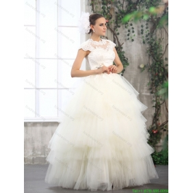 2015 Perfect White Wedding Dresses with Ruffled Layers and Lace