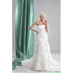 2015 Pleated Sequined White Wedding Dresses with Chapel Train