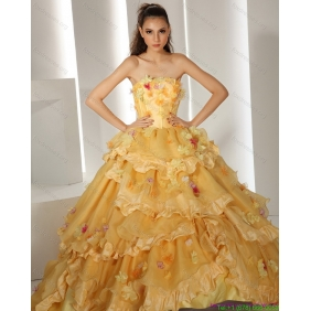 2015 Popular Gold Wedding Dresses with Hand Made Flower and Chapel Train