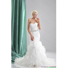 2015 Popular Ruffles White Sweetheart Wedding Dresses with Sequins