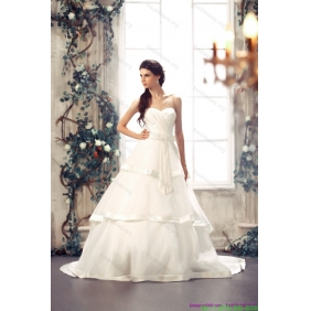 2015 Popular Sweetheart White Wedding Dresses with Chapel Train