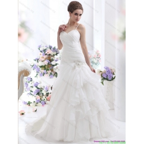 2015 Ruched White Wedding Dresses with Brush Train and Appliques