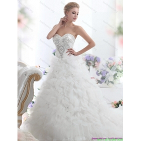 Popular Beading Sweetheart White Wedding Dresses with Ruffles and Brush Train