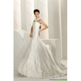 Popular Beading White Wedding Dresses with Brush Train and Lace