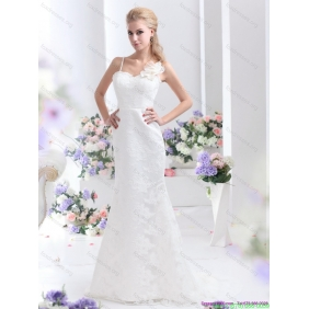 Popular White Column Lace Wedding Dresses with Brush Train and Hand Made Flower