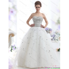 Popular White Strapless 2015 Wedding Dresses with Rhinestones