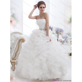 Popular White Strapless Ruffles and Ruching Wedding Gown for 2015
