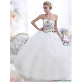 Popular White Sweetheart 2015 Wedding Dresses with Rhinestones