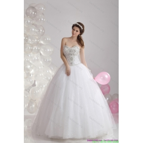 Popular White Sweetheart Rhinestones Wedding Dresses with Brush Train