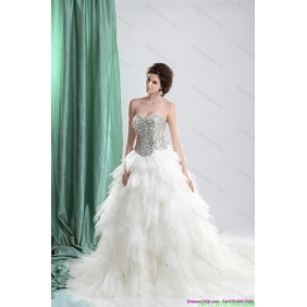 Popular White Sweetheart Rhinestones Wedding Dresses with Chapel Train and Ruffles