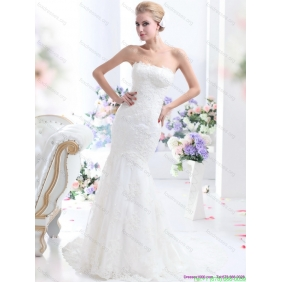 2015 New Style Strapless Mermaid Wedding Dress with Lace
