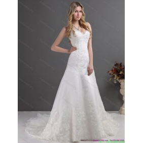 2015 Popular Lace Wedding Dress with Spaghetti Straps