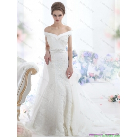 2015 Popular Off the Shoulder Beading Wedding Dress