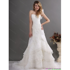 2015 Popular One Shoulder Wedding Dress with Lace