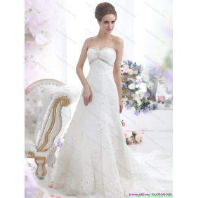 2015 Popular Sweetheart Wedding Dress with Beadings