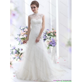 Elegant White Laced Wedding Dresses with Brush Train