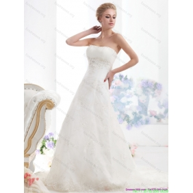 Popular Strapless Wedding Dress with Beading for 2015