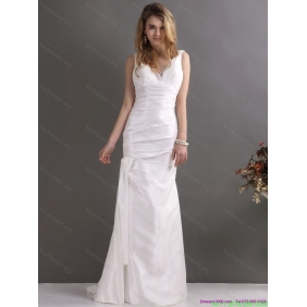 Popular White V Neck Ruching Wedding Dresses with  Brush Train