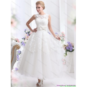 2015 Popular Scoop Ankle-length Wedding Dresses with Lace and Bowknot