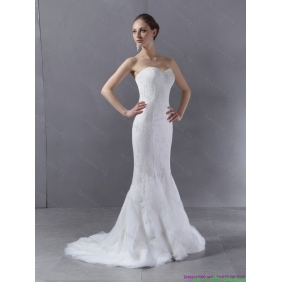 2015 Popular Sweetheart Mermaid Wedding Dress with Lace