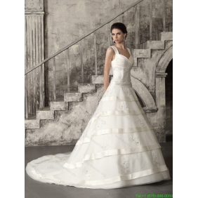 Elegant Brush Train Ruched Wedding Dresses in White