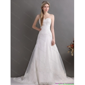 Elegant Laced Brush Train White Wedding Dresses in White