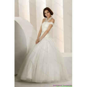 Elegant Laced Strapless White Wedding Dresses with Beading