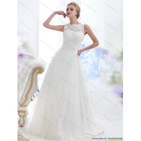 Elegant White High Neck Laced Wedding Dresses with Brush Train
