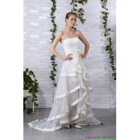 Elegant White Strapless Wedding Dresses with Brush Train and Bownot