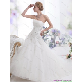 Elegant White Strapless Wedding Dresses with Sequins and Brush Train