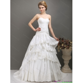 Elegant White Sweetheart Brush Train Wedding Dresses with Ruffled Layers